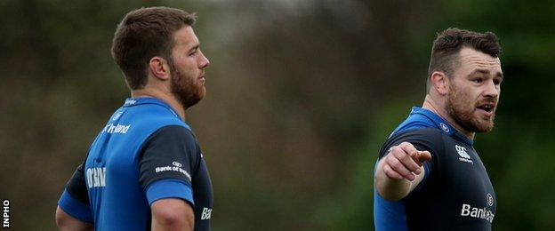 Sean O'Brien and Cian Healy at Leinster training earlier this month