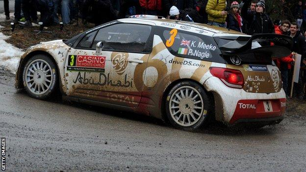 Kris Meeke in action in Thursday's shakedown stage in the Monte Carlo Rally