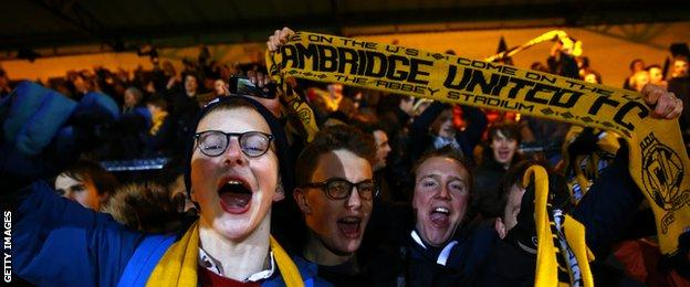 Cambridge United's fans created a partisan atmosphere at the Abbey Stadium