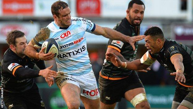 Racing's Wales centre Jamie Roberts takes on Stephen Myler (left) and Luther Burrell