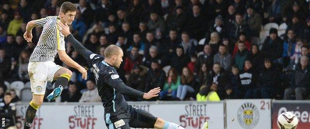 Kenny McLean scores for St Mirren against Dundee