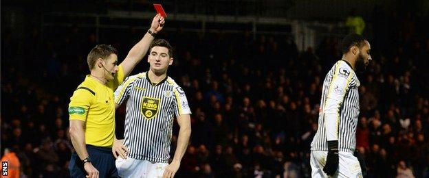 St Mirren's Yoann Arquin is sent off by referee Steven McLean