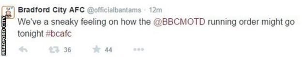 Bradford City tweet
