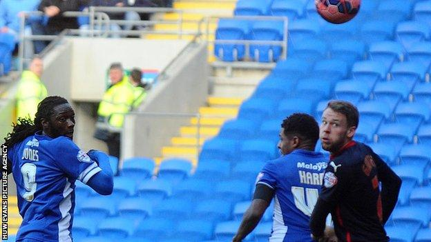 Kenwyne Jones headed Cardiff City in front against Reading in their FA Cup fourth round tie