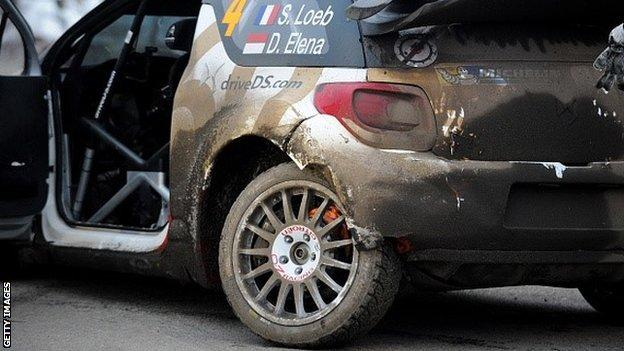 Sebastian Loeb's damaged Citroen