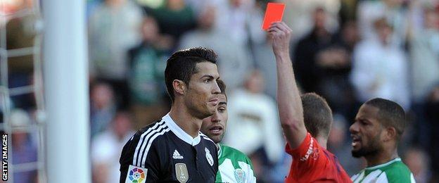 Ronaldo is shown the ninth red card of his career