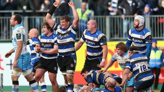 Bath players celebrate after claiming an exciting win over Glasgow
