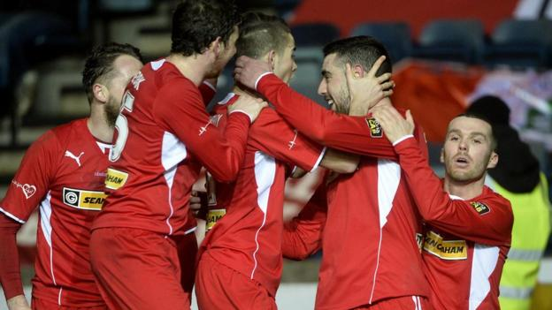 Cliftonville's top scorer Gormley struck again to put the holders 2-0 up on 37 minutes with his 31st goal of the season