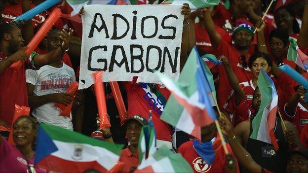 Equatorial Guinea fans celebrate victory over Gabon