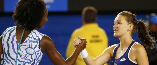 Venus Williams and Agnieszka Radwanska