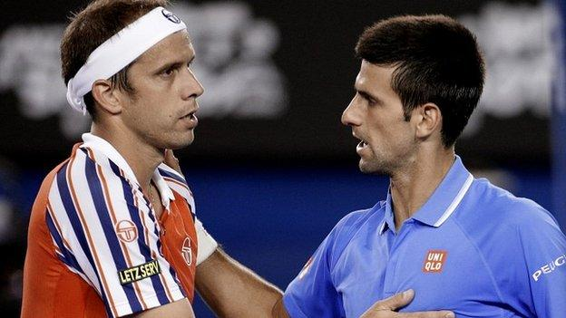 Novak Djokovic (right) and Gilles Muller