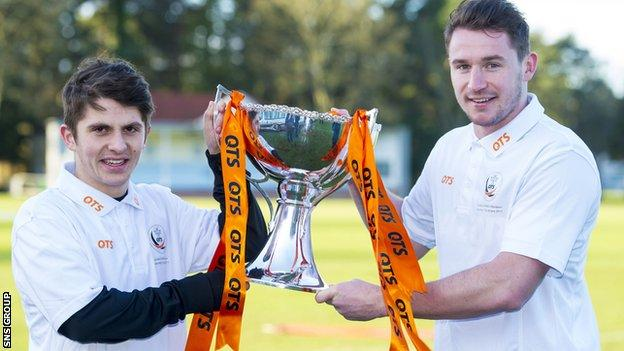 Dundee United duo Callum Morris and Charlie Telfer (left) look ahead to their League Cup semi final clash with Aberdeen