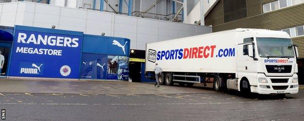 Sports Direct lorry outside Ibrox