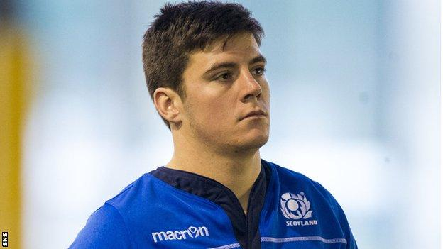 Hugh Blake trains with the Scotland squad