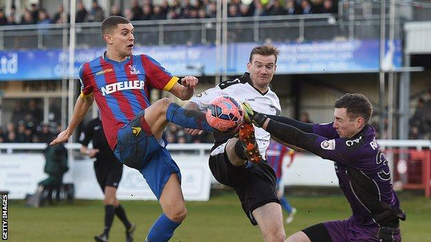 Stuart O'Keefe in action for Crystal Palace in the FA Cup tie against Dover in January 2015