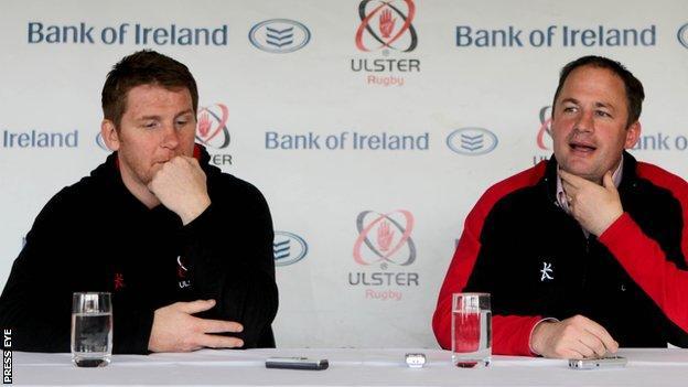 Jonny Bell and David Humphreys at an Ulster press conference