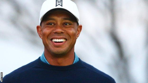 All smiles as Tiger Woods practises ahead of the Phoenix Open