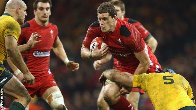 Ian Evans on the attack for Wales against Australia in 2013