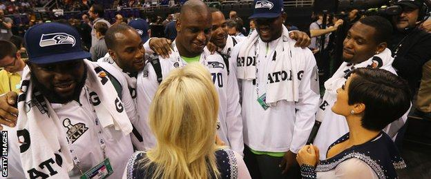 Seattle Seahawks players field questions from cheerleaders