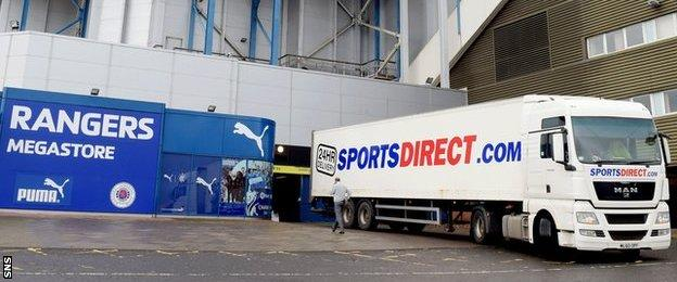 One of Rangers' retail outlets and a Sports Direct lorry