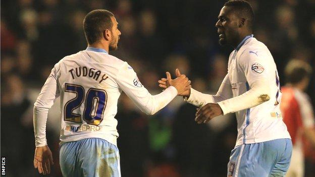 Marcus Tudgay is congratulated by Frank Nouble after scoring his first for Coventry City in their 2-0 win at Walsall