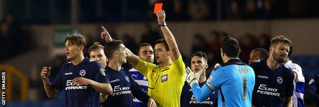 Sid Nelson is sent off during Millwall's 0-0 draw at home to Reading in the Championship