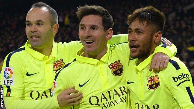 Anders Iniesta, Lionel Messi and Neymar