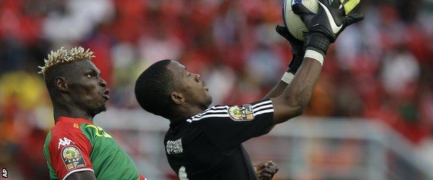 Equatorial Guinea goalkeeper Felipe Ovono