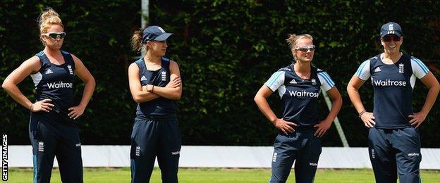 England's Lauren Winfield, Natasha Farrant, Danielle Wyatt and Georgia Elwiss