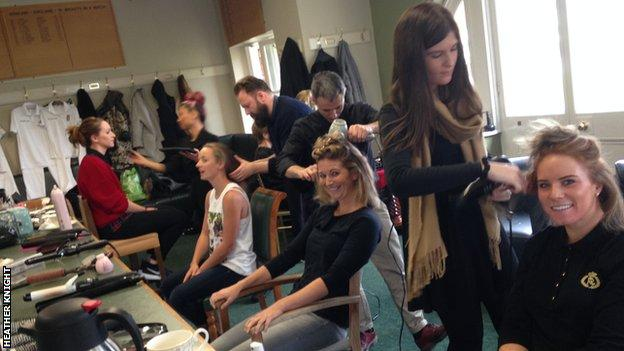 England's women get their hair done in the home dressing-room at Lord's