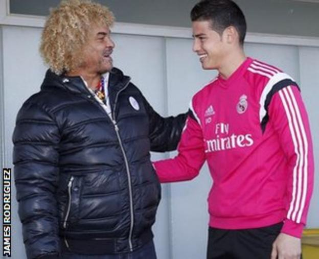 James Rodriguez (right) with Carlos Valderrama