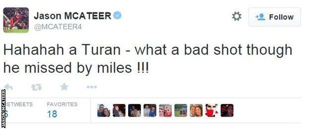 Jason McAteer tweets about Arda Turan's boot throw