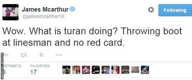 James McArthur tweets about Arda Turan's boot throw