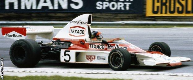Emerson Fittipaldi contests the 1974 British Grand Prix for McLaren