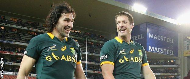 Victor Matfield (left) and Bakkies Botha hold the world record for starting the highest number of Test matches as a second-row pairing (63)