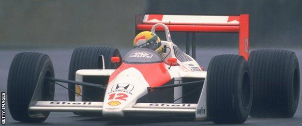 Ayrton Senna races for McLaren at the 1988 British GP