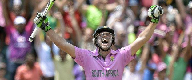 AB de Villiers celebrates at the Wanderers after breaking the record for the fastest ODI century