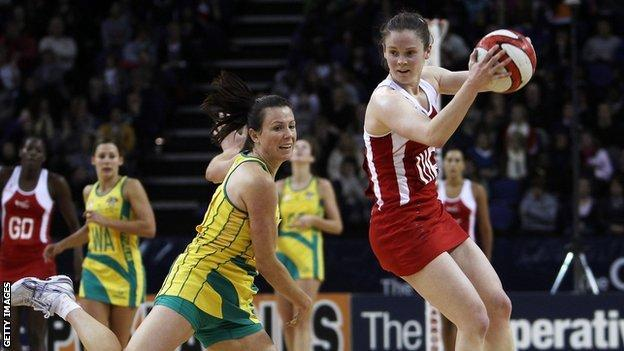 Karen Atkinson in action for England