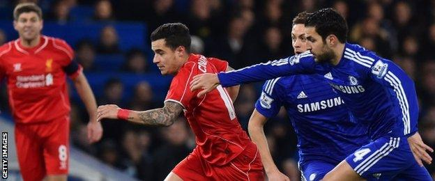 Liverpool's Philippe Coutinho dribbles away from Chelsea's Cesc Fabregas and Nemanja Matic