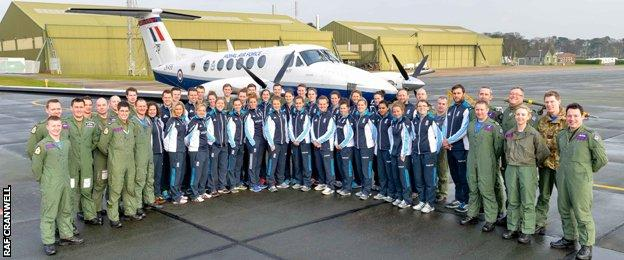 The England squad and coaches at RAF Cranwell