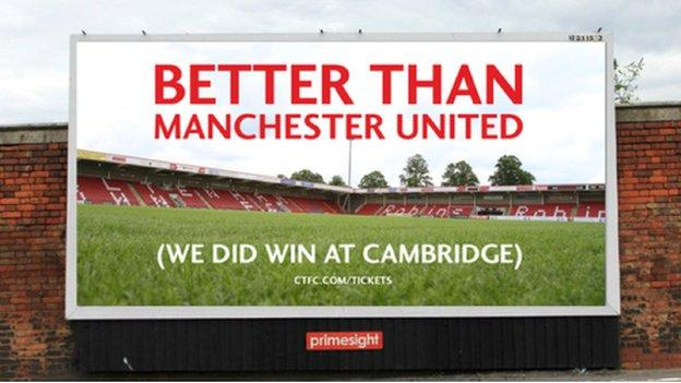 Better Than Manchester United banner created by Cheltenham Town fans