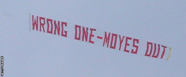 Moyes out banner flying over Old Trafford