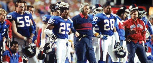 Bill Belichick (far right) was assistant coach for the New York Giants. They beat the Buffalo Bills 20-19