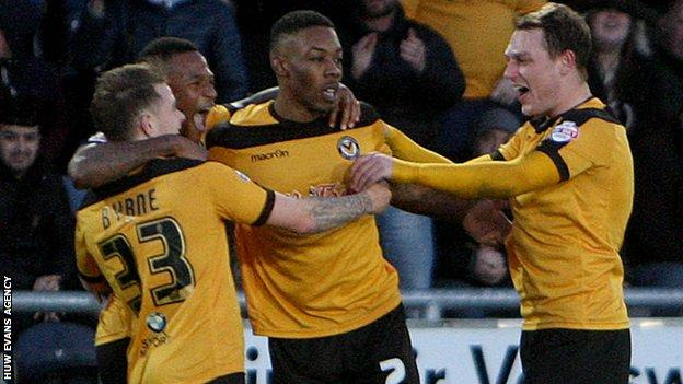 Newport County players celebrate
