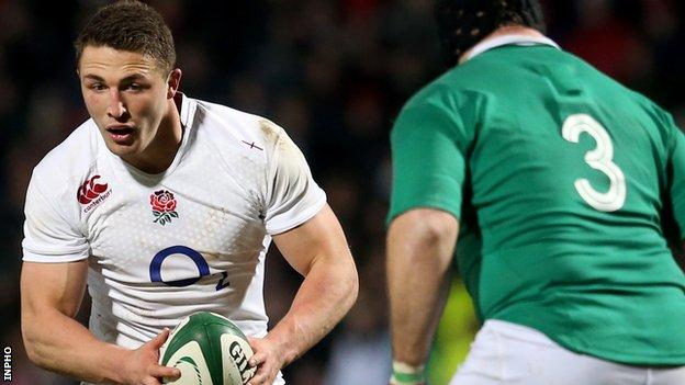 Sam Burgess in action for England Saxons in the 'A' international against Ireland