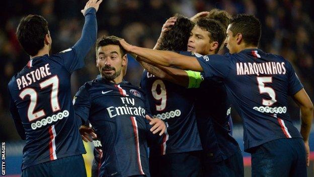 Ezequiel Lavezzi scores for Paris St-Germain
