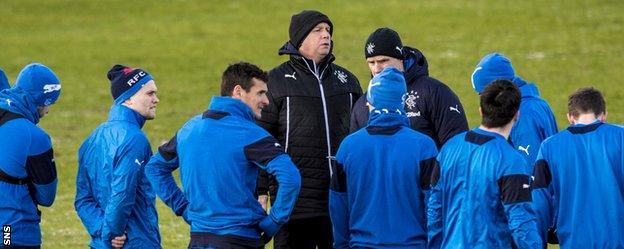 Rangers caretaker manager Kenny McDowall takes training