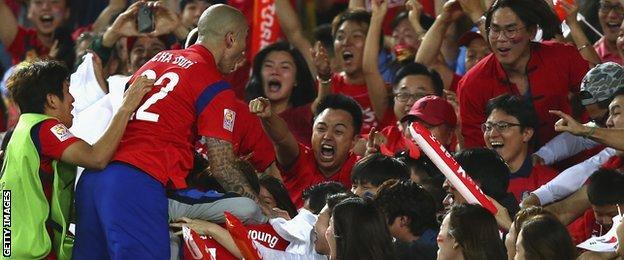 South Korea celebrate equaliser