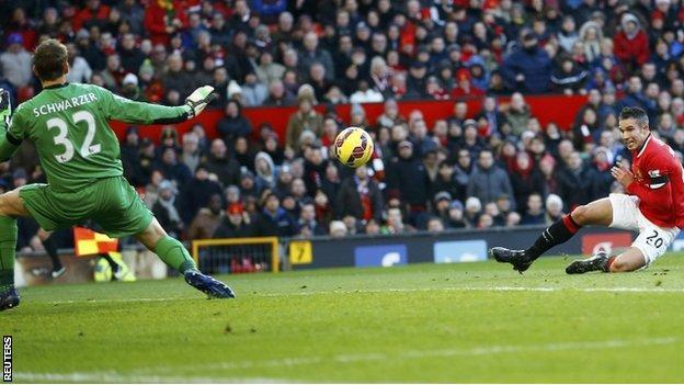 Robin van Persie gives Man Utd the lead