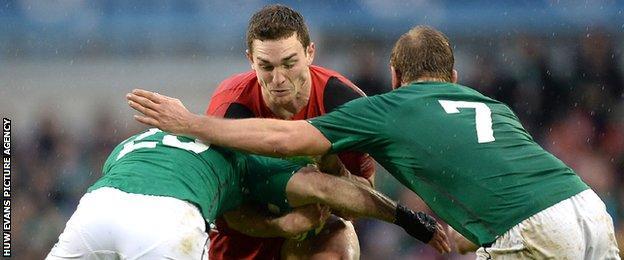 George North runs into tough Ireland defence in 2014.
